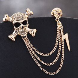 Wholesale Punk Skeleton Skull Gold Silver Color Chain Corsage Pin For Men s Suit Badge Brooch Pins Jewelry Accessories