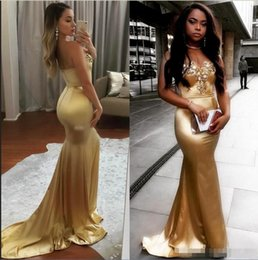 Prom Dress Strapless Black Lace Silk NZ - 2018 Strapless Golden Satin Mermaid Long Prom Dressess Black Girls Lace Applique Beaded Evening Dresses Party Celebrity Gowns