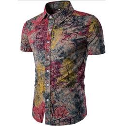 Shirt Beige Canada - Men's Shirt 2018 New Men's Fashion Linen Shirt Men's Casual Slim Linen Print Short Sleeve Shirt