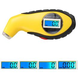 Venta al por mayor de 5.0-100PSI pantalla LCD digital retroiluminación herramienta de probador del indicador de presión de aire del neumático del neumático para la motocicleta PSI, KPA, BAR del coche auto