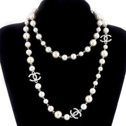 2018 Korean Lange Pullover Kette Colar Maxi Halskette Simulierte Perle Blumen Halskette Frauen Modeschmuck bijoux femme