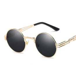 Discount steampunk round designer sunglasses - Gothic Steampunk Sunglasses Men Women Metal WrapEyeglasses Round Shades Brand Designer Sun glasses Mirror High Quality U