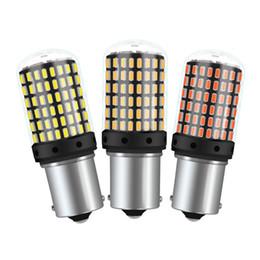 T20 7440 W21W Lampadine a LED 3014 144smd led CanBus Nessun errore 1156 BA15S P21W BAU15S PY21W lampada a led per auto Indicatore di direzione No Flash in Offerta
