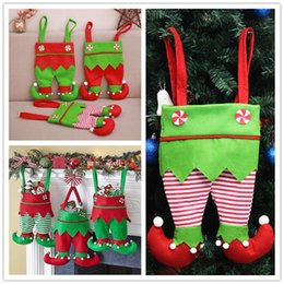 $enCountryForm.capitalKeyWord Australia - Non Woven Fabric Christmas Elf Pants Stocking Candy Bag Kids X-mas Party Decorations Ornament Cute Wine Bottle Cover Hallowen Supplies 52*23