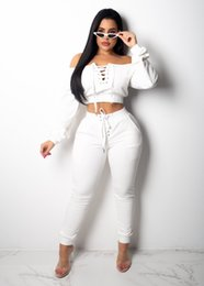 white girls yoga pants 2018 - Girls Casual Pullover Long Sleeve Winter Women's Sweat Suit Clothing Set Loose Pencil Pants Lady Autumn Leisure Spo