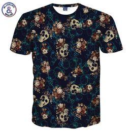 SkullS flowerS Sleeve man online shopping - Mr inc Skulls Fashion T Shirt Men S d Tshirt Short Sleeve Shirt Funny Print Many Skull Flowers Asia M L Xl Xxl Lt6