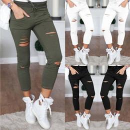 $enCountryForm.capitalKeyWord Canada - Hot sell drawstring hole pants pencil pant cotton elegant lady pants bottoming skinny women's tight-fitting pants