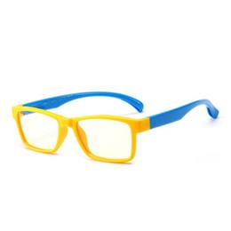 58b0462235 Yok s Anti Blue Ray Glasses Kids TR90 Titanium Ultralight Flexible  Eyeglasses Frames Yellow Children Computer Rectangle Eyewear CN1069