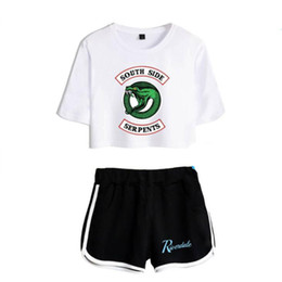 sweat outfits women UK - Summer Women's Sets Riverdale South Side Serpents Short Sleeve Crop Top + Shorts Sweat Suits Women Tracksuits Two Piece Outfit