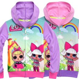 Small Size Coats NZ - Doll cartoon girl zipper shirt children's coat cardigan girl's small and medium-sized children's coat