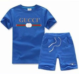 Discount infant boys short suits - 2019 HOT SELL New Style Children's Clothing For Boys And Girls Sports Suit Baby Infant Short Sleeve Clothes Kids Se