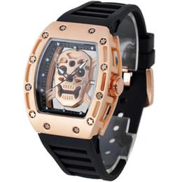 Wholesale Men Luxury Japan Quartz Simple Sports Rose Gold Silver Black Case Rubber Strap Skeleton Skull Tonneau Transparent Watch