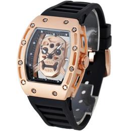 China Men Luxury Japan Quartz Simple Sports Rose Gold Silver Black Case Rubber Strap Skeleton Skull Tonneau Transparent Watch cheap skulls roses suppliers