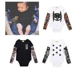 $enCountryForm.capitalKeyWord Canada - Cute Baby bebes Boys Fashion Infant Long Sleeve Cotton Tattoo Floral Print bodysuit Jumpsuit Autumn Baby Boy Outfit Clothing Set
