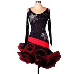 Latin Salsa Dance Dresses Canada - Latin Dance Dress Women Girls Latin Salsa Dance Competition Dresses Samba Costumes D0190 3 Colors Fluffy Irregular Hem Long Sleeve
