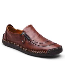 490a4f9a358 Высокое Качество Ручной Работы Мужчины Натуральная Кожа Обувь Размер 38-44  Британский Стиль Мужской Бренд