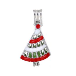 cage pendants for pearls UK - 10pcs Colorful Enamel Christmas Tree Pearl Cage Beads Cage Essential Oil Diffuser Locket Pendant DIY Jewelry Making for Oyster Pearl