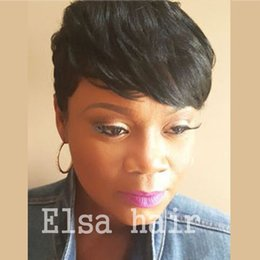 bob cut natural african hair 2018 - Pixie cut with baby hair for Africans short Wigs for black women human hair wigs for black women Indian bob full lace fr