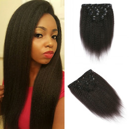 Cheap Kinky Natural Hair Extensions Australia - 7pcs set Kinky Straight Clip In Human Hair Extensions Wholesale Cheap 100% Natural Nuticle Hair In Stock G-EASY