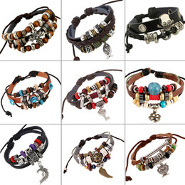Fisch Armband für Frauen Männer Legierung Kreuz Flügel Anhänger Gewebt PU Perlen Leder Casual Vintage Armband Armreifen Schmuck Großhandel