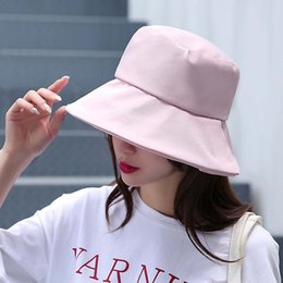 Fashion Lady Solid Color Fisherman Hat Female Summer Visor Summer Sunscreen  Cover Face Travel Anti-UV Sun Hat Bucket Cap 7a9cda208341