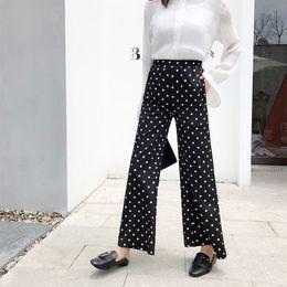 Trousers Women Elegant Canada - Elegant dot black flare pants women autumn chiffon long pants slim high stretch waist trousers female bottoms fashion vintage