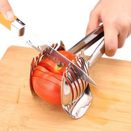 Slicer Easy Cutter Australia - Multipurpose Handheld Tomato Slicer Lemon Cutter Onion Holder Food Tongs Easy Slicing Guide Fruit Vegetable Tools
