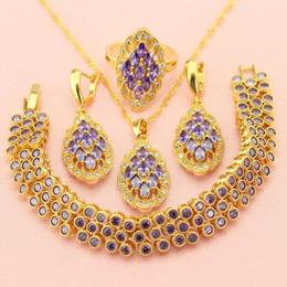 $enCountryForm.capitalKeyWord NZ - ewelry sets for women WPAITKYS Trendy Purple Cubic Zirconia Gold Color Jewelry Sets For Women Earrings Necklace Pendant Ring Bracelet Fre...