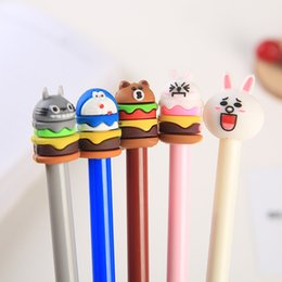 stationery Australia - 5 Styles Cute Kawaii Cartoon QQ Emoticon Shape Hamburger Gel Ink Pens Office Supplies Stationery Novelty Pen For Kids Children Gifts H441R F