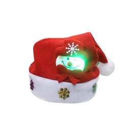 Christmas snowman ornaments online shopping - New Year S Decor pc Adult LED Christmas Hat Santa Claus Reindeer Snowman Xmas Gifts Cap Christmas Hats YS