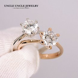 Forever Love Classic Engagement Ring White Gold Color 6 Prong 6mm Cubic Zirconia Woman Wedding Finger Rings Wholesale Gift 18KRGP Stamp