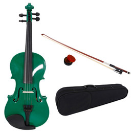 High Quality 4 4 Full Size Acoustic Violin with Case Bow Rosin Green Color for Student