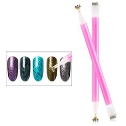 Wholesale 1Pcs Double Head Nail Art Cat Eye Magnet Pen D Nail Magnetic Gel Polish Cat Eyes Strip Flower Magical Stick DIY Tools