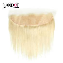 Discount straight virgin hair frontal - Bleach Blonde Color 613 Lace Frontal Closure 13x4 Brazilian Peruvian Malaysian Indian Cambodian Russian Virgin Human Hai