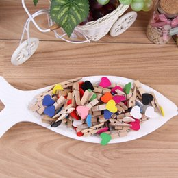 Photo memo cliPs online shopping - Cute Heart Shape Memo Clips Colorful For Home Decoration Photo Clamp Practical Mini Wooden Clip Portable hy B