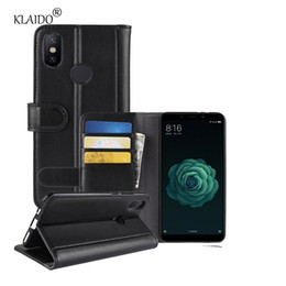 Chinese  for xiaomi 6X xiaomi A2 case real leather case Flip leather wallet Silicone TPU back shell phone bag pouch. manufacturers