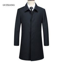 boutique men coat Canada - 2017 new arrival style men boutique trench coat business casual solid covered button men's black jacket overcoat size M-3XL