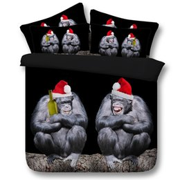 christmas bedding NZ - 3D Chimpanzee Duvet Cover Christmas hat Bedding Sets black Bedspreads Holiday Quilt Covers Bed Linen Pillow Covers monkey cal king size boy