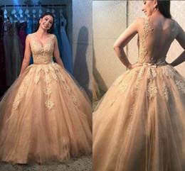 Discount glamorous quinceanera dresses - Glamorous Champagne Ball Gown Quinceanera Dresses Illusion Bodice Sweep Train Appliques vestidos de 15 anos Prom Party G