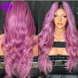 Anime wAve hAir online shopping - Middle part Ombre purple Pink wig long Heat Resistant Hair Anime Cosplay Blogger Daily Makeup Synthetic Lace Front Wedding Party Wig