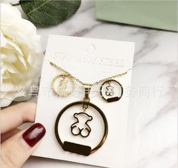 York Necklace NZ - 3 styles 316L Stainless Steel Double Heart Earrings Necklace Please return to New York 925 Letters Necklace Wedding Jewelry set for Women
