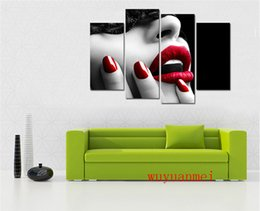 Discount painting canvas lips - Red Lips , 4PC Pieces Home Decor HD Printed Modern Art Painting on Canvas (Unframed Framed)