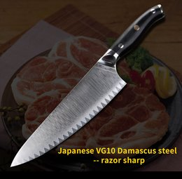 $enCountryForm.capitalKeyWord Australia - New style pattern 8 inch chef knife damascus kitchen knives Japanese Damascus steel Blade with Black G10 handle