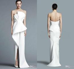 4238b49a957 8 Photos Robe de soirée blanche sexy sans bretelles en Ligne-Robes de  soirée formelles gaine sans