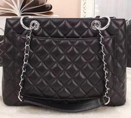 Venta al por mayor de Nueva bolsa de cuero genuino negro de piel de cordero GST bolsa grande de compras con hardware de oro para las mujeres bolsa de hombro