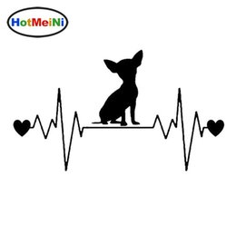 truck windshield decals 2020 - Wholesale Car Styling Chihuahua Dog Heartbeat Lifeline Car Stickers Cute Vinyl Decal Truck Decoration discount truck win