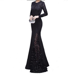 5d6a3f3205 2018 vestido largo high top quality black sequins mermaid long sleeves party  dress vestido de gala elegante prom dresses mermaid dress