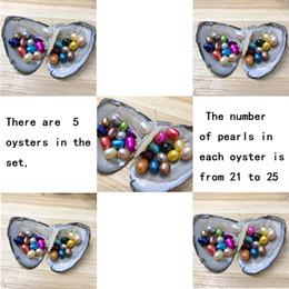 NUEVO Mix Set 5 PCS Lot Freshwater Oysters con 115 6-8mm Arroz Oval Colorido Perlas para Regalo con Embalaje Individual al Vacío Envío Gratis en venta