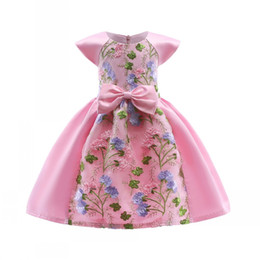 $enCountryForm.capitalKeyWord NZ - 2018 Spring and summer new style children feature lace embroidery bow skirt Boat Neck Girl's banquet Ball Gown