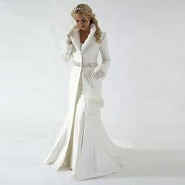 Modern 2019 Chapel Train Winter Bridal Cloak Jacket Long Sleeves Fur Wedding coat Cute Shawl Coat Satin Fabric With Faux Fur Sequin Beaded on Sale